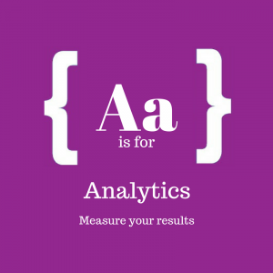 Purple square with text: A is for Analytics