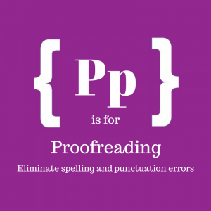 Text: P is for proofreading