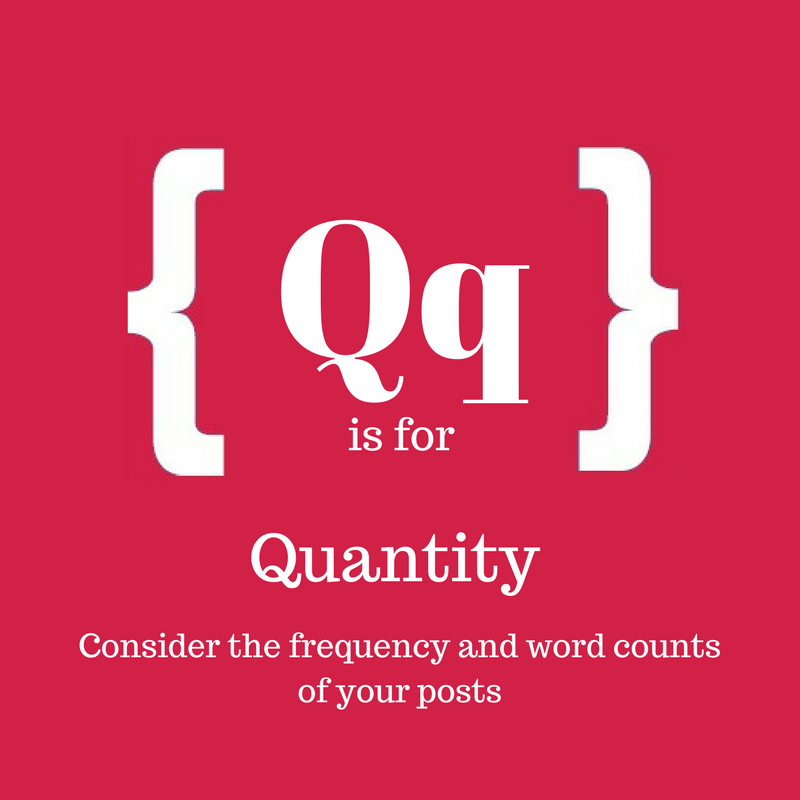 Text: Q is for quantity