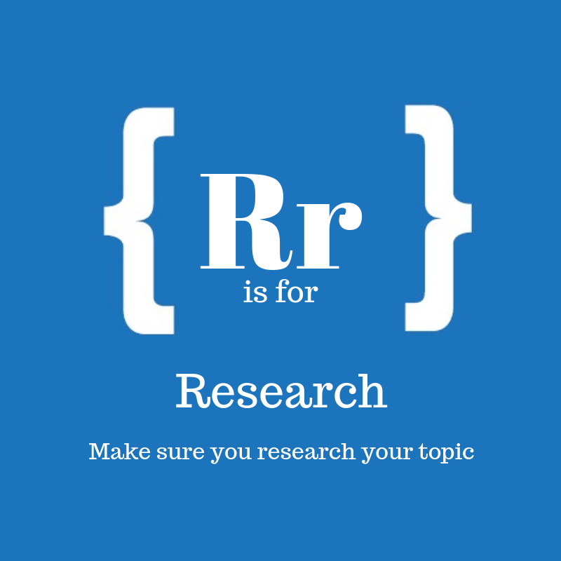 Text: R is for research
