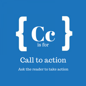 Blue suqare with text: C is for call to action