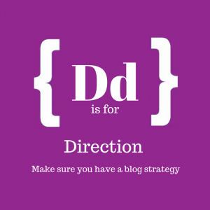 Purple square with text: D is for direction