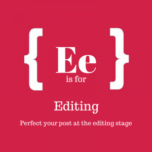 Red square with text: E is for editing
