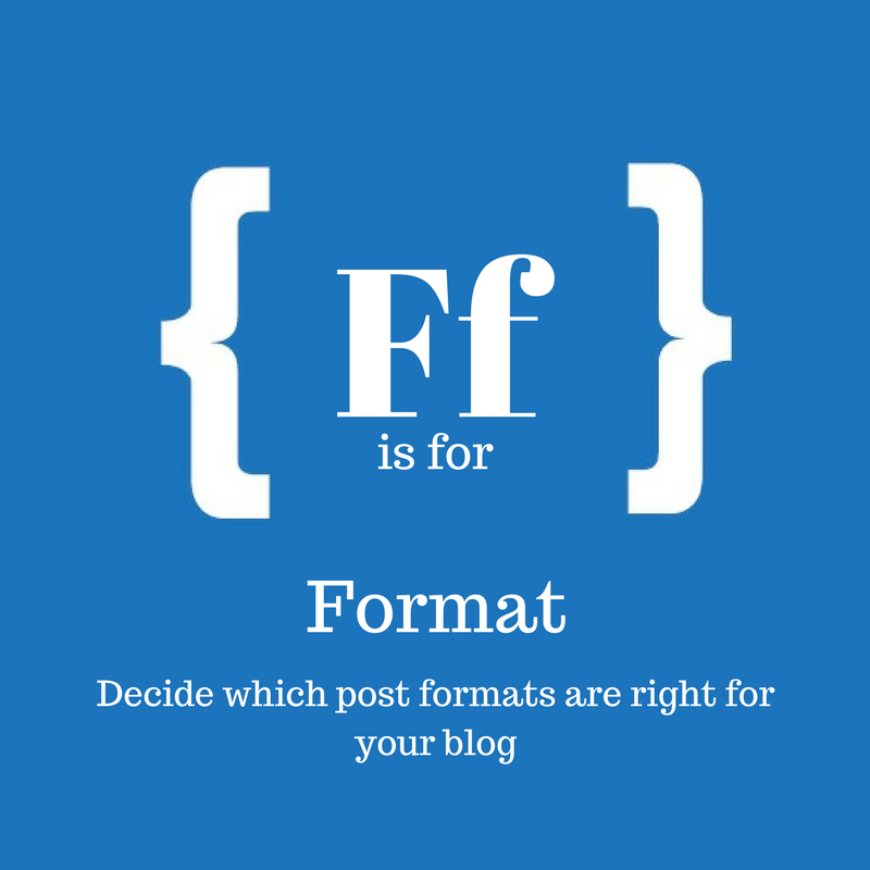 Blue square with text: F is for format